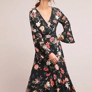 ANTHROPOLOGIE Farm Rio Summer Flower Wrap Dress M